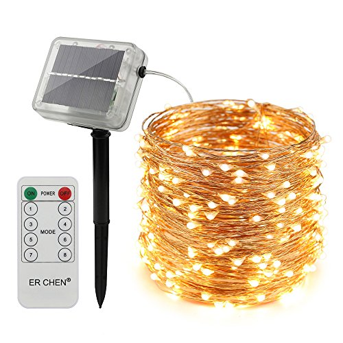 ErChen Solar Powered LED String Lights, 100 FT 300 Leds Copper Wire Waterproof with Remote Control 8 modes Decorative Fairy Lights for Outdoor Christmas Garden Patio yard (Warm White)