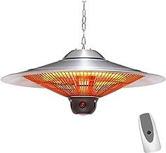 VIY Calefacción para Exterior por Infrarrojos, Acero Inoxidable, 2500 W, Tubo Calefactor de Carbono, Iluminación LED, Prueba de Salpicaduras, Mando a Distancia, Plateado