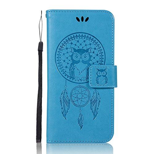Sunrive Custodia per ASUS ZenFone Go ZC500TG, Cover per Carte di Credito Portafoglio Flip Chiusura Magnetica Protettiva Protettivo Case(Gufo Blu)