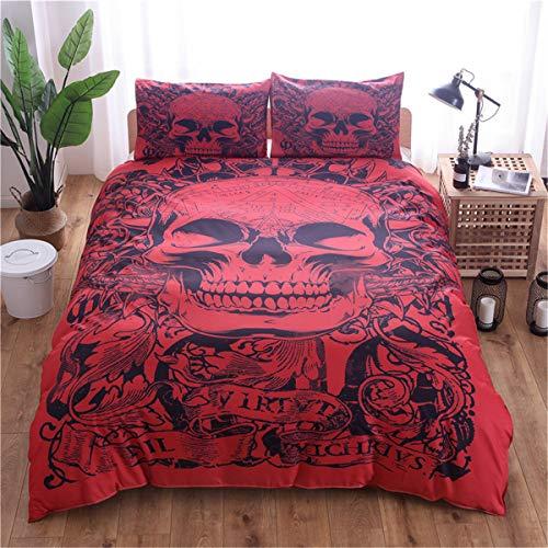 WONGS BEDDING Bettwäsche 3D Roter Schädel Bettbezug Set 135x200 cm Bettwäsche Set 2 Teilig Bettbezüge Mikrofaser Bettbezug mit Reißverschluss und 1 Kissenbezug 50x75cm