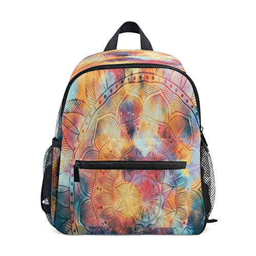 RXYY Kids Backpacks Ethnic Mandala Flower Art Shoulder Travel Toddler Preschool School Bag Casual Backpack with Chest Strap for Girls Boys
