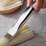 Taglierina per cipolle in acciaio inox, taglierino per verdure, coltello da cucina con 6 lame
