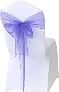 Wedding Decorations for Reception, Elegant Chair Sashes for Wedding Party Banquet Meetings, Organza Chair Covers Bow Sash, 25 Pcs-Lavander Purple