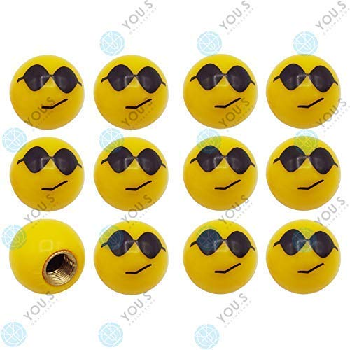 YOU.S Kunststoff Emotion Smileys 'Sonnenbrille' Ventilkappen Gelb mit Dichtung Ventil Kappen Abdeckung für Auto PKW LKW (12 Stück)