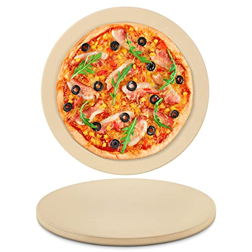 Arcedo Pizza Stone for Oven and Grill, 12 Inch Round Baking Stone for Bread, Heavy Duty Ceramic Grill Pizza Stone, Durable Stone Pizza Pan, Perfect for Making Pizza, Bread, Pies, Calzone and More