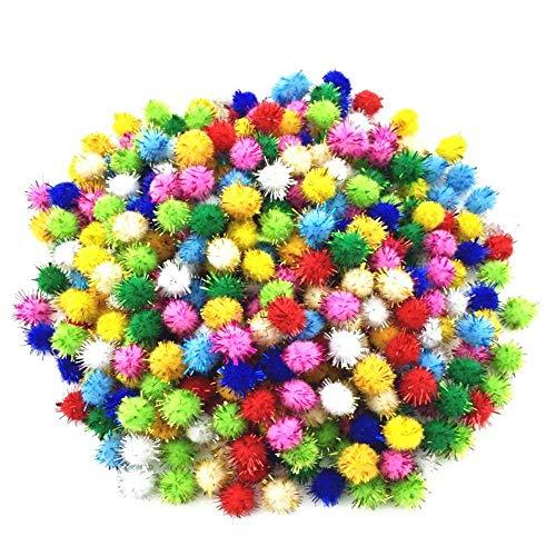 "Kbraveo 1000pcs 1/2"" Glitter Poms Sparkle Balls for Craft,Multicolored Glitter Poms"