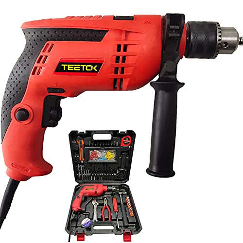 Hammer Drill Impact Drill Variable Speed 3000RPM Electric Corded Percussion Drill 104Pcs Set with Case for Drilling Wood Steel Concrete Masonry Brick