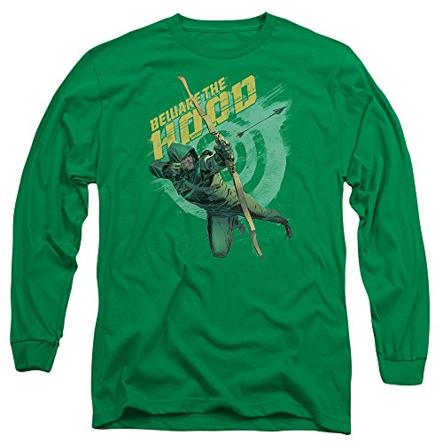 Green Arrow - Hommes Méfiez long T-shirt manches, XX-Large, Kelly Green