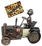 BRUBAKER - Porte-bouteille de vin - Fermier avec tracteur - Métal - Carte de vœux incluse - Idée cadeau originale - Objet décoratif