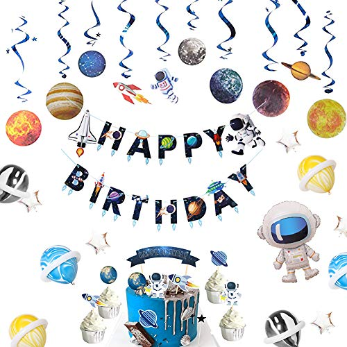 SHERONV Outer Space Party Decoration Kit Solar System Planets Swirls Galaxy Party Supplies With Universe Astronaut Rocket Happy Birthday Banner, Balloons, Cake Topper for Kids' Birthday Baby Shower