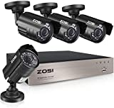 ZOSI 8-Channel HD-TVI 1080N/720P Video Security System DVR Recorder with 4X HD 1280TVL Indoor/Outdoor...