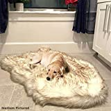 iHappyDog Luxury Faux Fur Orthopedic Dog Bed, Memory Foam Dog Bed for Small, Medium, Large and XL Pets, Fluffy Pup Rug with Waterproof and Washable Soft Cover, Bone White (Medium)