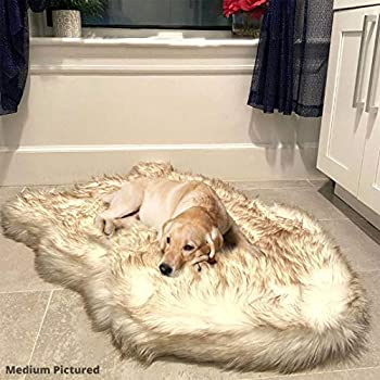 Luxury Faux Fur Orthopedic Dog Bed Memory Foam Dog Bed for Small Medium Large and XL Pets Fluffy Pup Rug with Waterproof and Washable Soft Cover Bone White  Medium