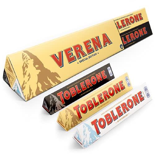 Barre géante Toblerone personnalisée - Barre au chocolat XL Toblerone personnalisée avec le nom et le message de votre choix, avec 8 délicieuses barres au chocolat Toblerone à lintérieur