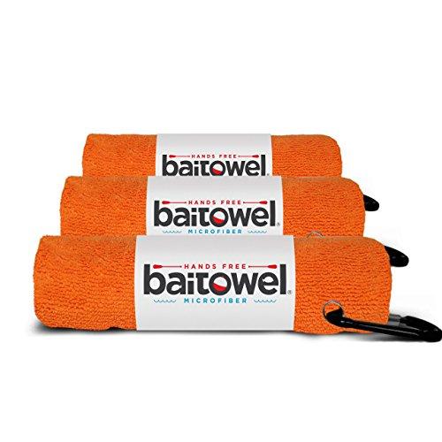 Bait Towel 3 Pack Orange | Hands Free Microfiber Fishing Towels (Orange Crush)