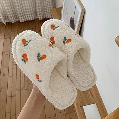 QPPQ Pantuflas viscoelásticas,Zapatillas de otoño e Invierno Lindas, Zapatos de algodón de Felpa casera-Blanco (1)_36-37,Pantuflas de algodón Suave