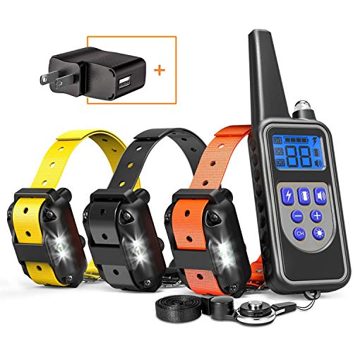 Cambond Dog Training Collar for 3 Dogs, 2600ft Range Dog Shock Collar with Remote Waterproof Electronic Dog Collar for Medium and Large Dogs with 4 Training Modes Light Shock Vibration Beep