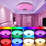 Lámpara de techo LED regulable, lámpara de techo con altavoz bluetooth, cambio de color RGBW, control remoto / control de APP, función de temporizador, para dormitorio, sala de estar, baño, comedor