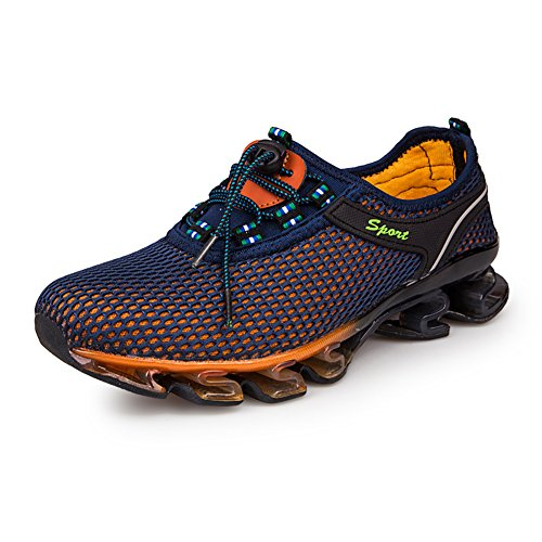 GOMNEAR Running Shoes Men Slip On Mesh Casual Breathable Fashion Stylish Sneakers Athletic Shoes, Dark blue-45