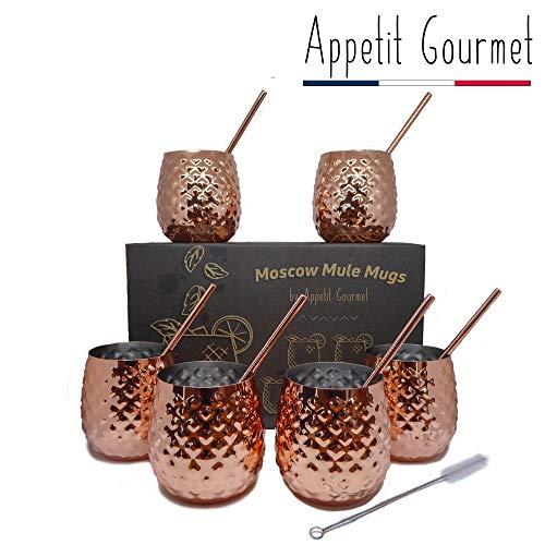 Appetit Gourmet Set de 4 Verres à Cocktails en Cuivre avec Pailles et Brosse de Nettoyage - Verres Design de 36 cl pour Boissons - Fraîcheur Inégalée - Moscow Mule, Mojito, Capirinha, Rhum, Bière