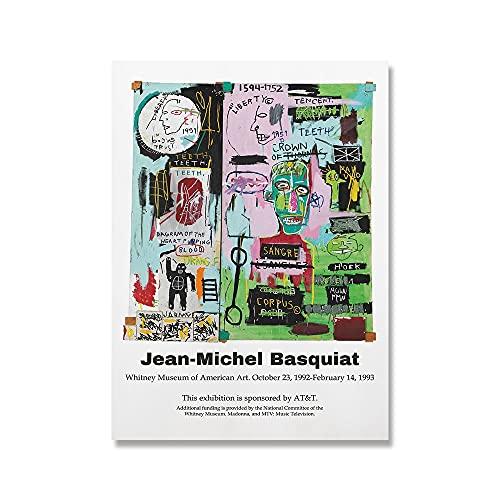 Carteles e impresiones Jean Michel Basquiat Graffiti Pinturas de pintor moderno Cuadros modernos Pinturas en lienzo sin marco D 60x80cm