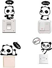Removable Switch Sticker, 4 Pcs Cute Cartoon Pandas Wall Sticker, Light Switch Decor Decals, Family DIY Decor Art Car Stickers Home Decor Wall Art for Kids Living Room Office Decoration