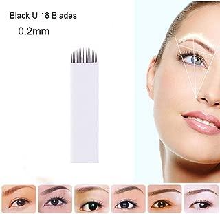 50 pcs Tattoo Needles Permanent Makeup Eyebrow Tatoo Blade Microblading Needles U Pins For 3D Embroidery Manual Tattoo Pen (18U)