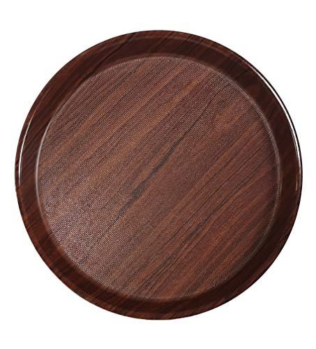 Staab's Gastro Tablett rund braun Laminat mit hohem Rand und antirutsch Oberfläche, Kellnertablett, Serviertablett, Bierglasträger, Gläsertablett (Ø 36 cm)