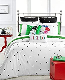 Kate Spade Deco Dot Queen/Full Comforter Set, Black and White Polka Dot