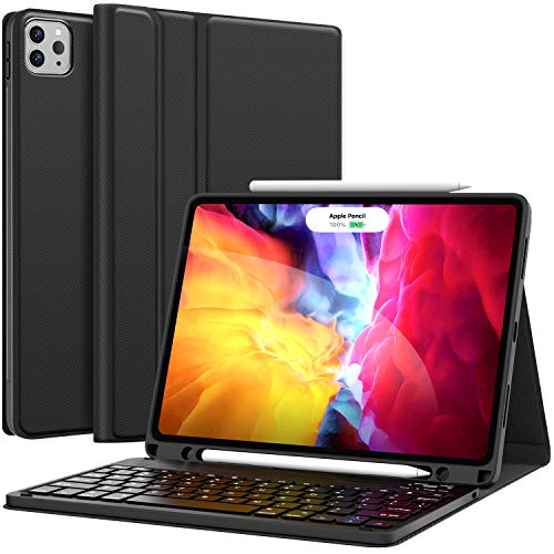 iPad Pro 11 Inch 2021 Case with Keyboard, Keyboard for iPad Pro 11-inch (3rd Generation, 2nd/1st Gen) - Wireless Detachable - with Pencil Holder - Flip Stand Cover - iPad Pro 11 Keyboard for Tablet