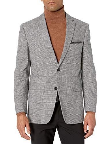 U.S. Polo Assn. Men's Updated Modern Side Vent Sportcoat, Black/White Glen Plaid, 44 Short