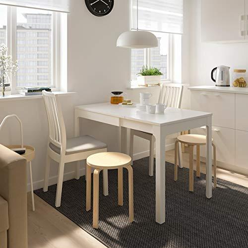 EKEDALEN / EKEDALEN Mesa y 2 sillas, blanco, Ramna gris claro, 80/120 cm, duradero y fácil de cuidar. Juego de comedor hasta 2 asientos. Mesas y escritorios. Muebles respetuosos con el medio ambiente.