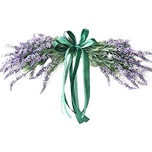 INFILM Artificial Purple Lavender Swag with Ribbon Bow,Handmade Floral Plant Flowers Wreath, Hanging Spring Greenery Garland for Front Door Wall Wedding Party Home Decor