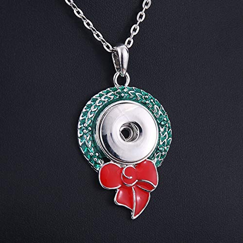 Christmas Snowman Snap Necklace para 18mm Snap-on Jewelry Collar Colgante Snap-on niñas