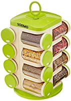 Made in India, 16 spice jars with 120 ml capacity each Beautifully designed carousel for easy access to spice collection Made from the high-quality, food-grade, BPA free plastic to ensure shatterproof toughness Easy to use jars with 3 holes and easil...