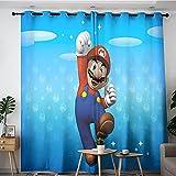 Cortinas opacas de aislamiento térmico Super Mario Póster Cortinas opacas para dormitorio y sala de estar 106,7 x 137,2 cm