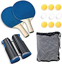 Table Tennis Set Kit Outdoor Indoor Racquet Paddle Bat Balls Retractable Net Accessories Case Cover for Adults Kids Portab...