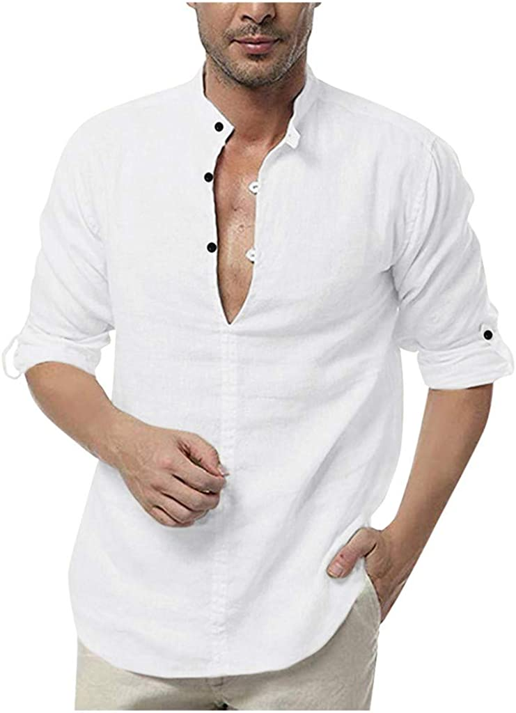 eipogp Mens Vintage Solid Shirt, Cotton Linen Henley Casual Roll Tab V-Neck Blouse Baggy Yoga Beach Tops