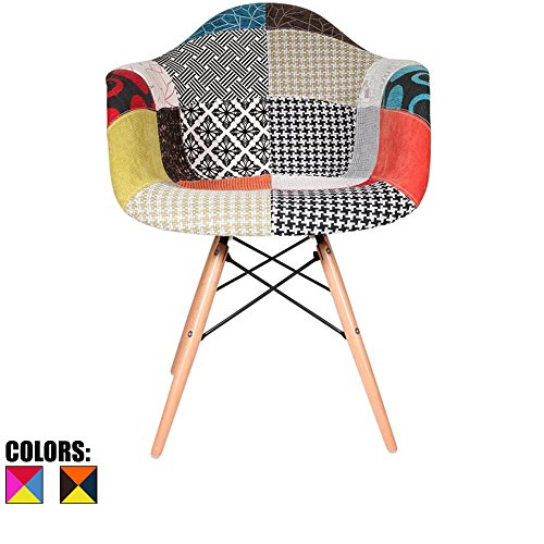 2xhome Eiffel Style Mid Century Modern Dining Arm Chair with Natural Wood Legs, Patchwork S,1 piece