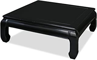 ChinaFurnitureOnline Hand Crafted Rosewood Ming Style Square Coffee Table - Black Ebony