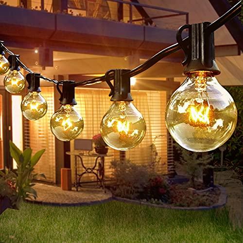 Guirnaldas Luces Exterior Enchufe, Cadena de Luces Exterior G40 9.5M con 30+3 Bombillas Impermeable, Guirnaldas Luminosas para Interior, Dormitorio, Boda, Partido, Decoraciones de la Navidad