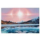 KIMDFACE Rompecabezas Puzzle 1000 Piezas,Sol Montañas Paisaje Cielo Aenami River Invierno Hielo,Puzzle Educa Inteligencia Jigsaw Puzzles para Niños Adultos