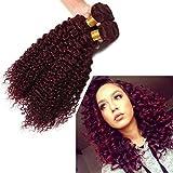 Fashion Lady Hair Peruvian Curly Hair Weave Human Hair Bundles Deep Curly Remy Hair Extensions Human Hair Wine Red Color 99j 100g/Bundle (3 Bundles 12'14'16')