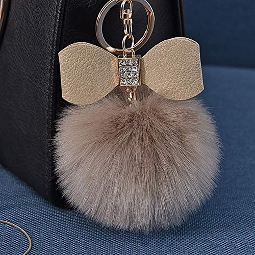 Fluffy Ball Key Chain 8-10cm Cute Keychain Bag Charm Ball Fur Key Chain for Car Key Ring (Khaki)
