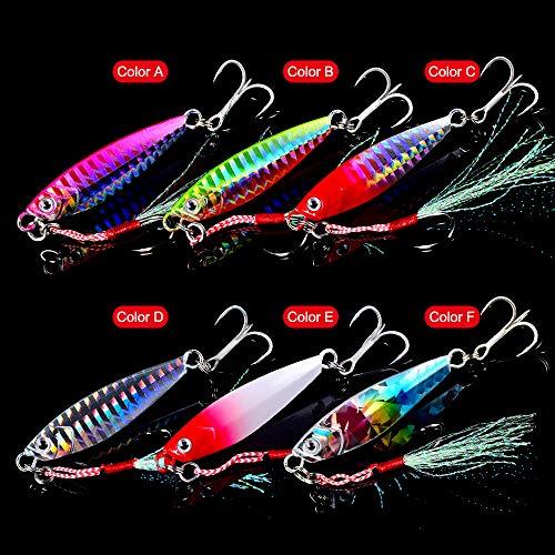 Dyxssm Jigs Fishing Spoons Hard Lures Spinners Jigging Bait 7g 10g 15g 20g 30g (Pack of 6) (20g/0.71oz)
