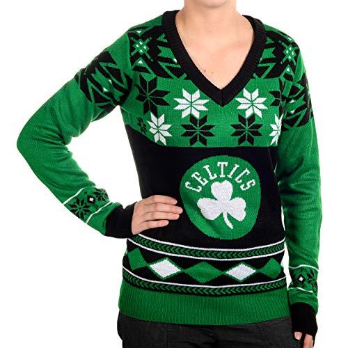 Boston Celtics Womens Big Logo V-Neck Sweater Medium