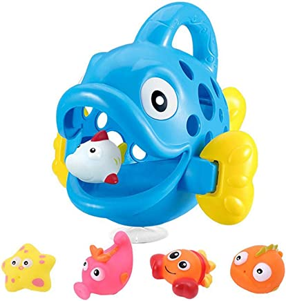 Little Squirts Fun Bath Toys, Hamkaw Big Swallowing Fish with 5 Mini Marine Animal Bathtub Toy Organizer, Fun Squirting Water Toys Play Set for Kids Baby from 0-3 Years Old