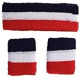 Bandeau Et Bracelet Serre Poignet Éponge Transpiration Drapeau France Francais Foot Rugby Tennis