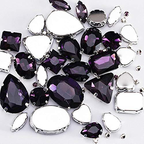 Glitter Crystal Naai Op Strass Met Klauw Diy Kleurrijke Jurk Stenen Mix Vorm Glas Strass Steentjes Voor Kleding 50 Stks/PACK S037