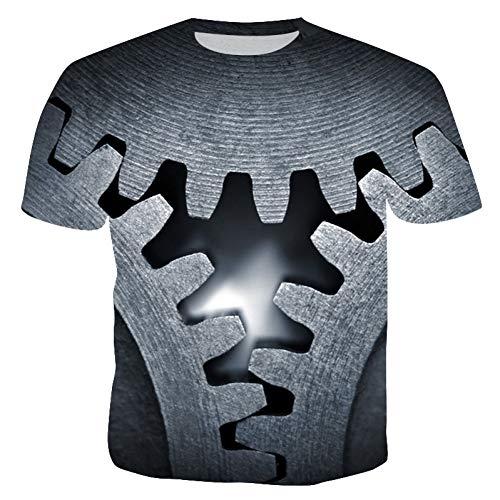 XJWDTX Summer Burst Impression Numérique 3D T-Shirt Décontracté Chemise Décontractée